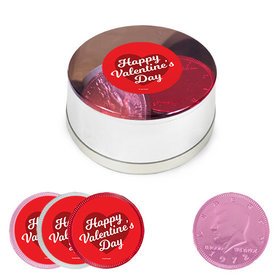 Valentine's Day Milk Chocolate Coins in Small Silver Plastic Tin (12 Coins w/ stickers)