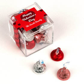 Personalized Valentine's Day Script Heart JUST CANDY® favor cube with Hershey's Kisses