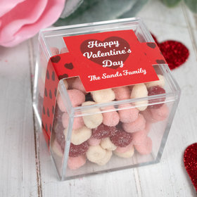 Personalized Valentine's Day Script Heart JUST CANDY® favor cube with Jelly Belly Petite Sour Hearts