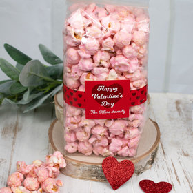 Personalized Valentine's Day Script Heart Candy Coated Popcorn 8 oz Bags