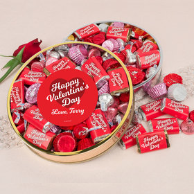 Personalized Valentine's Day Script Large Plastic Tin with Hershey's Mix