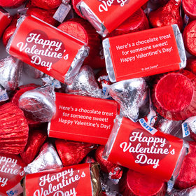 Valentine's Day Script Heart Mix Hershey's Miniatures, Kisses and Reese's Peanut Butter Cups