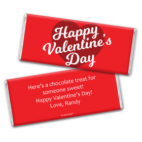 Personalized Valentine's Day Script Heart Chocolate Bar Wrappers