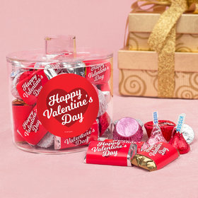 Valentine's Day Script Heart Container with Hershey's Mix