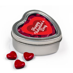 Happy Valentine's Day Script Heart Metal Heart Tin with Red Hearts