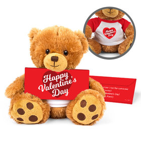 Personalized Valentine's Day Script Heart Teddy Bear with Belgian Chocolate Bar in Deluxe Gift Box