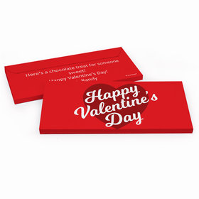 Deluxe Personalized Valentine's Day Script Heart Candy Bar Favor Box