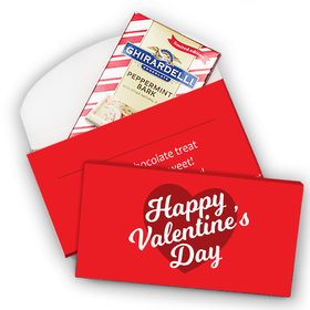 Deluxe Personalized Valentine's Day Script Heart Ghirardelli Peppermint Bark Bar in Gift Box (3.5oz)