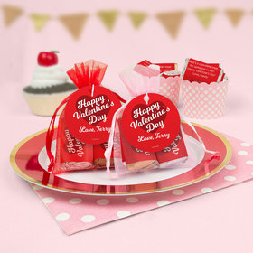 Personalized Valentine's Day Script Heart Hershey's Miniatures in Organza Bags with Gift Tag