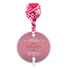 Valentine's Day Heart of Our Business Dum Dums with Gift Tag (75 pops)