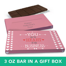 Deluxe Personalized Valentine's Day Heart of Our Business Chocolate Bar in Gift Box (3oz Bar)
