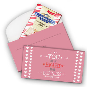 Deluxe Personalized Valentine's Day Heart of Our Business Ghirardelli Peppermint Bark Bar in Gift Box (3.5oz)