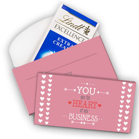 Deluxe Personalized Valentine's Day Heart of Our Business Lindt Chocolate Bar in Gift Box (3.5oz)