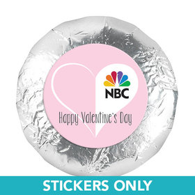 """Personalized Valentine's Day Add Your Logo White Heart 1.25"""" Stickers (48 Stickers)"""