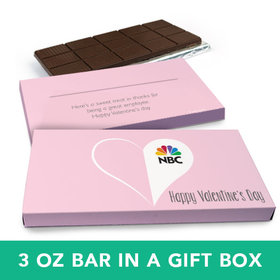 Deluxe Personalized Valentine's Day Add Your Logo Heart Chocolate Bar in Gift Box (3oz Bar)