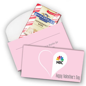 Deluxe Personalized Valentine's Day Add Your Logo Heart Ghirardelli Peppermint Bark Bar in Gift Box (3.5oz)
