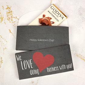 Deluxe Personalized Valentine's Day Heart of Our Business Love Godiva Chocolate Bar in Gift Box