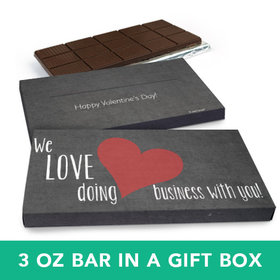 Deluxe Personalized Valentine's Day Business Love Chocolate Bar in Gift Box (3oz Bar)