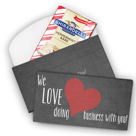 Deluxe Personalized Valentine's Day Business Love Ghirardelli Peppermint Bark Bar in Gift Box (3.5oz)