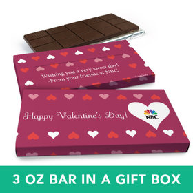 Deluxe Personalized Valentine's Day Add Your Logo Hearts Chocolate Bar in Gift Box (3oz Bar)