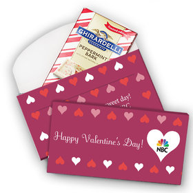 Deluxe Personalized Valentine's Day Add Your Logo Hearts Ghirardelli Peppermint Bark Bar in Gift Box (3.5oz)