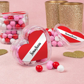 Personalized Valentine's Day Add Your Logo Favors Assembled Acrylic Heart Container with Sixlets