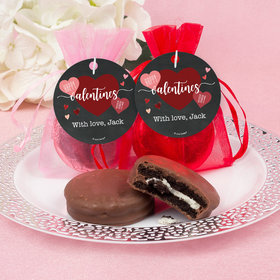 Personalized Valentine's Day Chalkboard Heart Chocolate Covered Oreo Cookies in Organza Bags with Gift tag