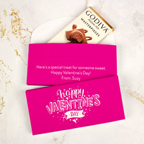 Deluxe Personalized Valentine's Day Hearts & Hugs Add Your Logo Godiva Chocolate Bar in Gift Box