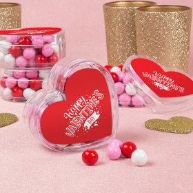 Valentine's Day Hearts & Hugs Favors Assembled Acrylic Heart Container with Sixlets
