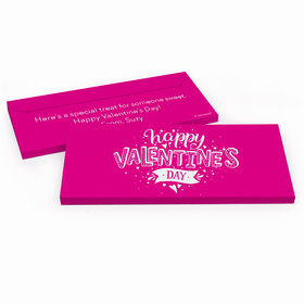 Deluxe Personalized Valentine's Day Hearts and Hugs Candy Bar Favor Box