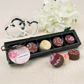 Personalized Valentine's Day Sending Hearts Add Your Logo Gourmet Belgian Chocolate Truffle Gift Box (5 Truffles)