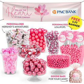 Personalized Valentine's Day Sending Hearts Add Your Logo Deluxe Candy Buffet