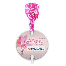 Personalized Valentine's Day Sending Hearts Add Your Logo Dum Dums with Gift Tag (75 pops)