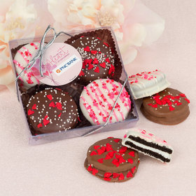 Personalized Valentine's Day Sending Hearts Add Your Logo Gourmet Belgian Chocolate Covered Oreos 4pc Gift Box