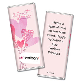 Personalized Valentine's Day Sending Hearts Add Your Logo Hershey's Chocolate Bar & Wrapper