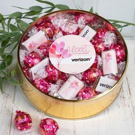 Personalized Valentine's Day Add Your Logo Extra-Large Plastic Tin with Approx 1lb Personalized Hershey's Miniatures and Lindor Truffles by Lindt