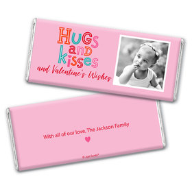Personalized Valentine's Day Hugs and Kisses Hershey's Chocolate Bar & Wrapper