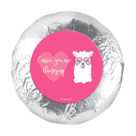 """Personalized Valentine's Day Love Llama 1.25"""" Stickers (48 Stickers)"""