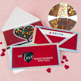 Personalized Valentine's Day Corporate Dazzle Metallic Gourmet Infused Belgian Chocolate Bars (3.5oz)