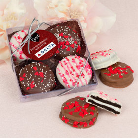 Personalized Valentine's Day Corporate Dazzle Add Your Logo Gourmet Belgian Chocolate Covered Oreos 4pc Gift Box