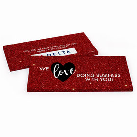 Deluxe Personalized Valentine's Day Corporate Dazzle Candy Bar Favor Box