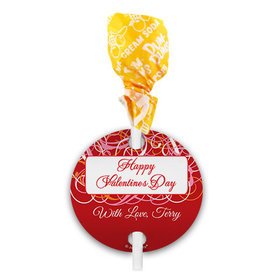Personalized Valentine's Day Swirls Dum Dums with Gift Tag (75 pops)