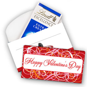 Deluxe Personalized Valentine's Day Swirl Lindt Chocolate Bar in Gift Box (3.5oz)
