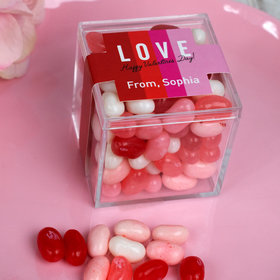 Personalized Valentine's Day JUST CANDY® favor cube with Jelly Belly Jelly Beans