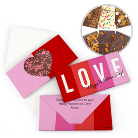 Personalized Valentine's Day Color Block Love Gourmet Infused Belgian Chocolate Bars (3.5oz)