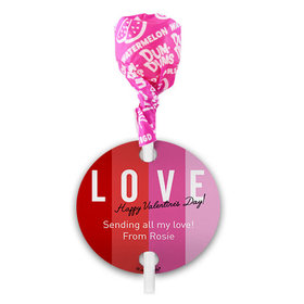Personalized Valentine's Day Color Block Love Dum Dums with Gift Tag (75 pops)