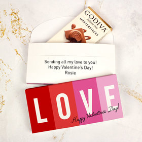 Deluxe Personalized Valentine's Day Block Love Godiva Chocolate Bar in Gift Box