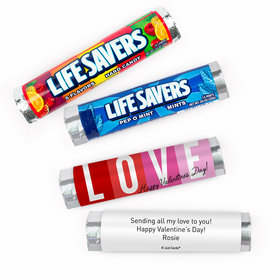 Personalized Valentine's Day Color Block Love Lifesavers Rolls (20 Rolls)
