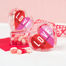 Valentine's Day Color Block Love Assembled Acrylic Heart Container with Jelly Beans