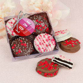 Personalized Valentine's Day Color Block Love Gourmet Belgian Chocolate Covered Oreos 4pc Gift Box